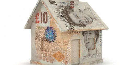 house made of ten pound notes, money house