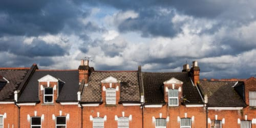 Stormy skies over London property